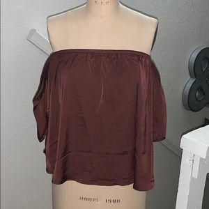American Eagle off the shoulder satin top, size L